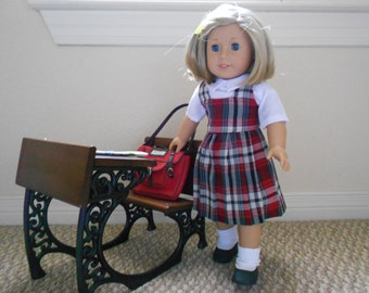 Doll Clothes School uniform plaid red grey pleated skirt blouse fits 18 in doll like American Girl 18 in doll hand made