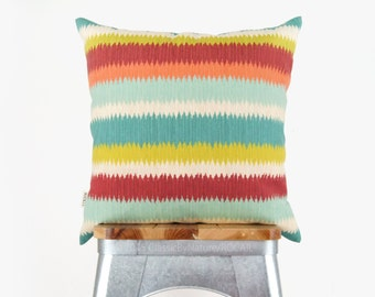 18x18 Southwestern Striped Outdoor Pillow Case, Cushion Cover - Stripes in Orange, Red, Green, Turquoise and Aqua - Patio Garden Decoration