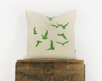 Flock of Birds Decorative Pillow Case, 16x16 or 12x18 inches, Woodland Home Decor | Green, Beige & Geometric Ogee Flying Birds Cushion Cover