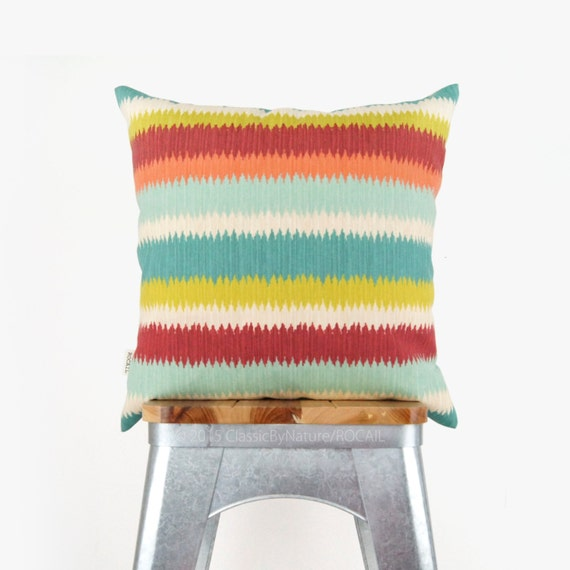 18x18 Striped Outdoor Pillow Case, Cushion Cover - Stripes in Orange, Red, Green, Turquoise and Aqua - Colorful Patio Garden Decoration