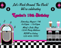 Fifties Birthday Invitation - Malt Shop Birthday Party - Printable JPEG Files # 1-2