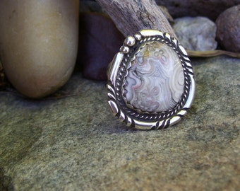 Crazy Lace Sterling Silver Ring Size 7 1/2