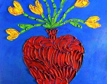 Impasto Yellow Tulips Art...18x24 Vertical Original Acrylic Painting... Red Vase