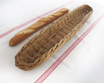 "Antique French ""baguette"" wicker basket, vintage french basket for proving loaves, large size"