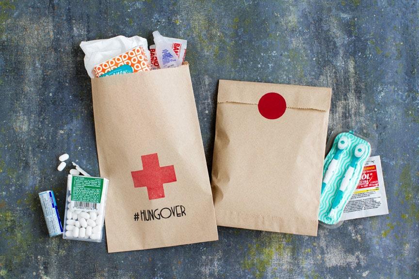 bachelorette party favor paper bag hangover kit wedding. Black Bedroom Furniture Sets. Home Design Ideas