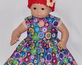 Handmade Colorful Spiral Dots Polka Dots Dress and Red Crocheted Hat and Flower Fits American Girl Bitty Baby and Twins