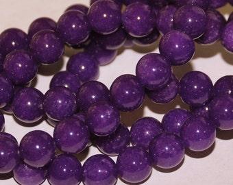 Half Strand 8mm Purple Amethyst Color Agate Gemstone Beads - 24 beads  4-5
