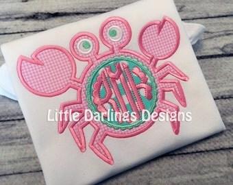 Preppy Girls Monogrammed Crab Shirt