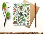 Greens & Leaves - botanical print - blank card - leaf print terrarium leaf flowers plants flora cactus succulent garden - gift for gardener