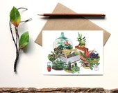 indoor garden print - terrarium blank card - botanical print - greenthumb air plant flowers plants flora cactus succulent gift for gardener
