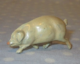 Antique Toy Cast Iron or Lead Adult Pig Walking Cream Color