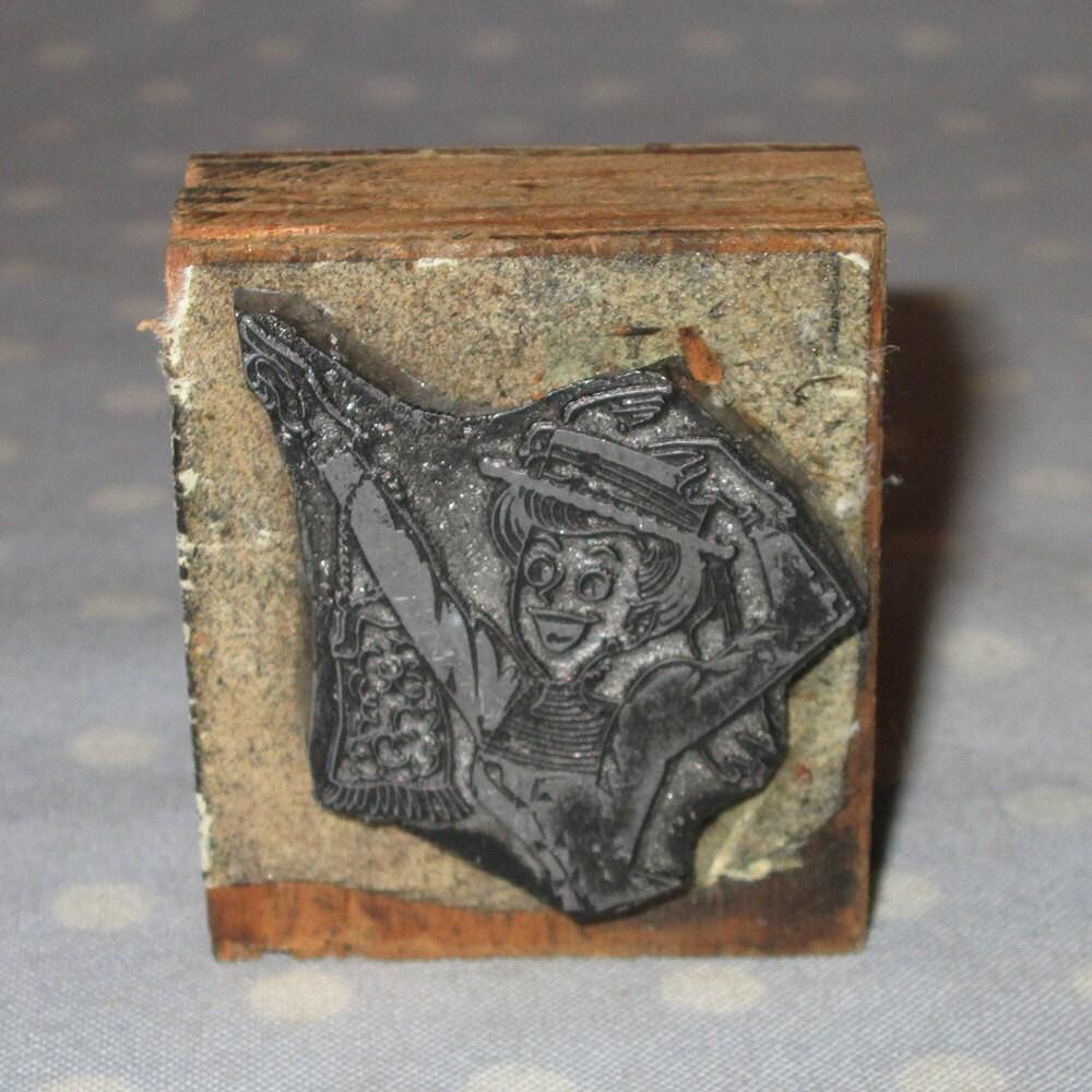 Antique Press Metal On Wood Block Stamp Advertising Newspaper