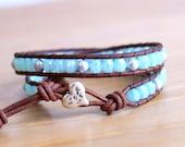 Baby Blue Swarovski Pearl Beaded leather wrap bracelet, Bohemian, Valentine, boho chic, gift idea, silver heart, trendy jewelry, hipster