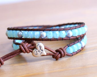 Baby Blue Swarovski Pearl Beaded leather wrap bracelet, Bohemian, boho chic, gift idea, silver heart, love, trendy jewelry, hipster
