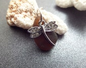 Dragonfly Necklace with Amber Brown Scottish Sea Glass, Beach Glass, Gift From Scotland