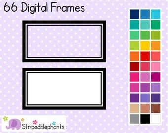 Line Rectangle Clip Art Labels - Instant Download - Commercial Use