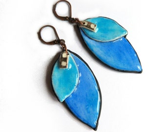 Blue Leaf colorful polymer clay earrings, Long earrings, Turquoise and blue artisan handmade earrings -  nature inspired blue earrings