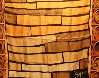 Vintage Shiaparelli Scarf  Square  Silk  Designer  Geometric  Signed   Color Block