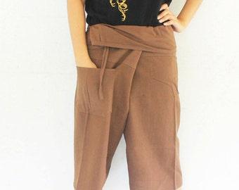 3/4 brown Thai fisherman pants  hand weave cotton 1 pocket,size S-XL,unisex pants