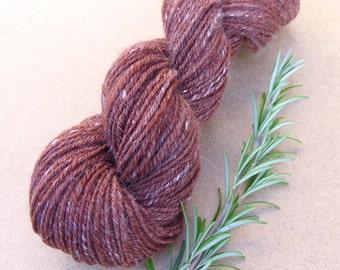 Handspun yarn, plied handspun yarn, merino, silk and cruelty-free angora, DK weight handspun yarn,