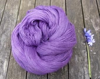 Purple Laceweight Yarn, Hand Dyed Singles Lace Yarn, Falkland Merino yarn, British wool, 100g