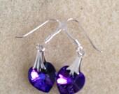 Violet Swarovski heart earrings
