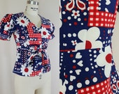 1960s Blouse // Country Patriotic Tie Waist Blouse // Red, White, Blue // XS