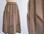 Vintage 1970s Leather Skirt • Brown Suede Lace-Up Skirt • Patchwork / Small