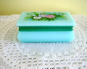 Vintage 1960s Kitsch Jade Blue Green Color Lucite Hinged Floral Lid Trinket Jewelry Box Shabby Retro Chic