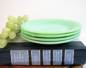 "Fire King JANE RAY Jadeite Saucers, Smooth Back, 5/8"" or 3/4"" Ribs, 5 7/8"" Cup Plates, Set of 4... Vintage Anchor Hocking Jade-ite Jadite"