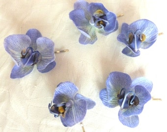 Reserved Delphinium blue Orchid hair fascinators mini real touch phalaenopsis orchid hair clips bridal hair clip tropical fascinator