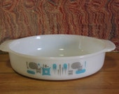 Vintage Atomic Blue Heaven Casserole Dish Fire King Anchor Hocking Cake Pan, Serving Dish Retro Kitchen