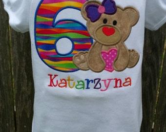 Bear birthday applique shirt