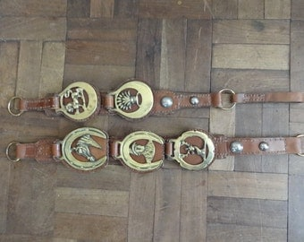 Vintage English heavy brown leather martingales with 5 assorted horse brass brasses tack circa 1950's / English Shop