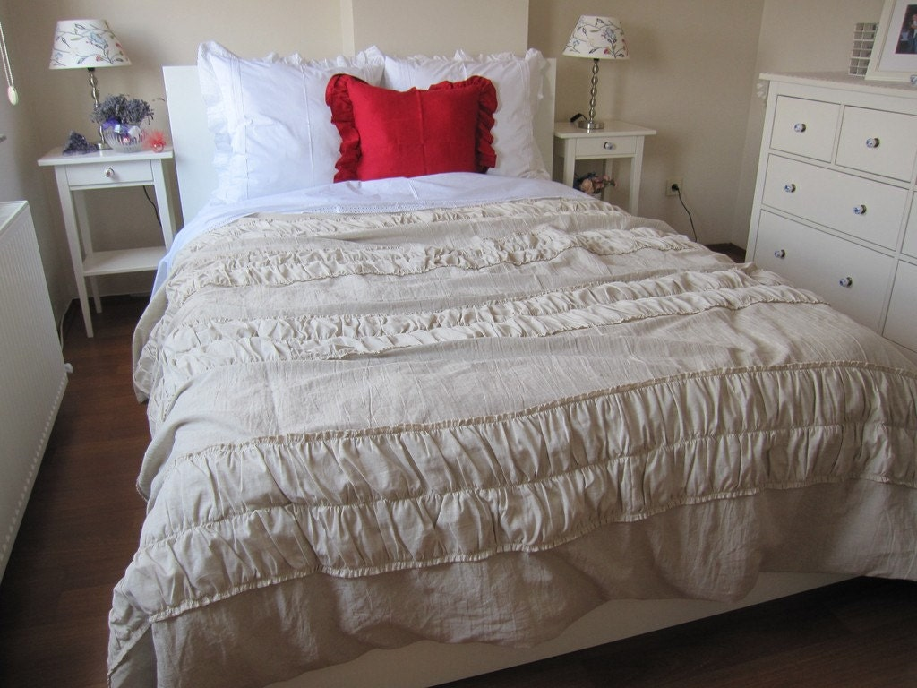 Ruched Bedding-Shabby Cottage Chic Duvet Cover Full Queen