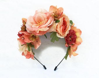 Peach Frida Kahlo Headpiece, Floral Crown, Fiesta, Flower Crown, Frida, Costume, Flower Headband, Peach Rose, Flower Headpiece, Mexican