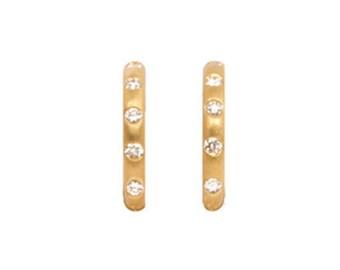 22K Gold Hoop Earrings w/ Diamonds - Interchangeable Earrings