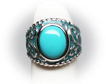 Sterling Silver Ladies Blue Turquoise Enameled Fashion Ring
