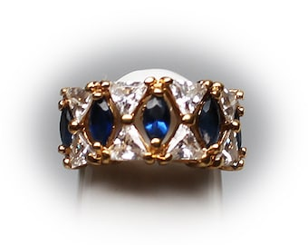 Gold Plated Sterling Silver  CZ Diamond and Blue Sapphire Simulant Fashion Ring