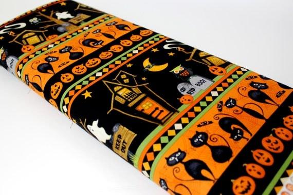 Halloween Fabric Orange Black Print By The Yard