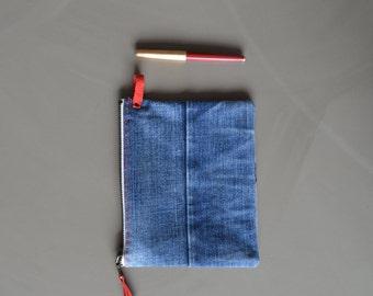 cosmetic denim bag - repurposed blue jeans patchwork zipper pouch - boho denim bag - toiletry bag - red details - patchwork jeans