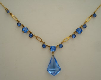 Art Deco Necklace Blue Glass Drop and Rhinestones  1920's 1930's