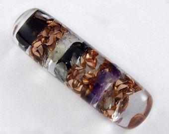 Orgonite® Small Wand.  Orgone with Arkansas Crystal, Amethyst, Elite Shungite, Petalite, Phenacite, Rhodizite, Tourmaline, Selenite  (s33)