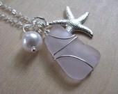 Starfish Necklace Purple Sea Glass Jewelry Cluster Sea Glass Necklace Beach Jewelry