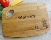 Personalized Family Name Cutting Board  Wood burned Pine Tree Design
