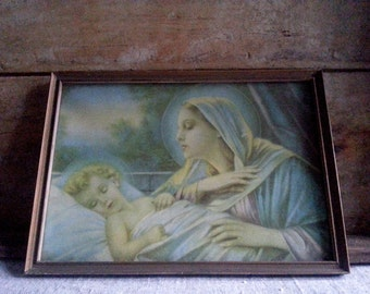 Antique Religious 1930's Virgin Mary chromolithography framed