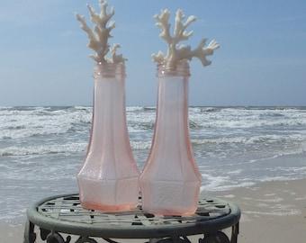 Set of Two Vintage Antique Pink Depression Glass Bottles with Coral