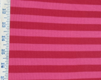 "apx. 1/2"" Pink & Red Stripe Waffle thermal Knit Fabric - last stock"