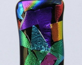 Multi coloured Mosaic style dichroic glass pendant necklace.