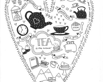 SALE - 'All About Tea' A4 Fine Art Giclee Print from an original pen and ink doodle drawing